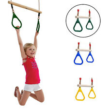 Children's Wooden Trapeze Bar with Gymnastic Rings Kids Swing Accessory 3 Colors