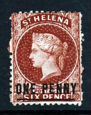 ST. HELENA QV 1871 ONE PENNY Surchge Crown CC INVERTED & REVERSED P12½ SG 8y MNG