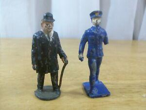 Lead Figures Lot - Gentleman w/ Cane JoHillco England & Lincoln Logs Policeman