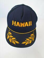 Vtg Hawaii Blue Mesh/Foam Gold Leaf Rope Trucker Snap Back Hat/Cap