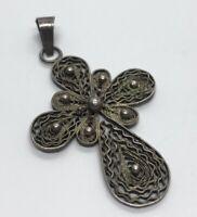 Vintage Sterling Silver Necklace 925 Pendant Cross Filigree
