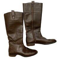 Ralph Lauren Stara Brown Leather Knee High Zip Up Riding Boots Women's Size 10