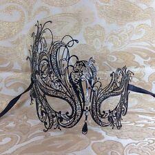 Beautiful Black Swan Filigree Venetian Mardi Gras Masquerade Mask w/Rhinestones