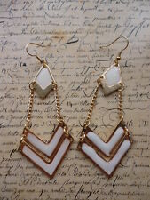 Vintage Gold Pearl White Geometric Elegant Costume Jewellery Dangle Earrings