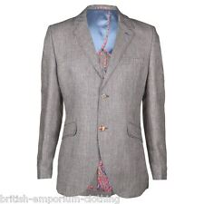 Holland Esquire HAND CUSTOMISED Blue Hairline Check WOOL LINEN Jacket UK38 IT48