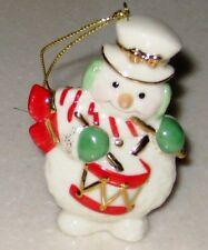 "Lenox White 3"" Snowman Drummer Figurine Ornament"