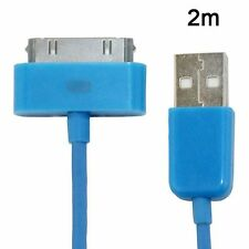 Long 2m USB Cable for iPhone 4S 4 3GS Data Charger Wire Cord Blue