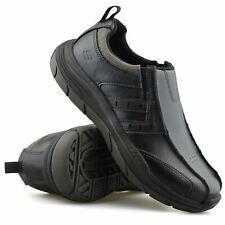 Mens Skechers Leather Wide Fit Slip On Memory Foam Walking Loafers Shoes Size