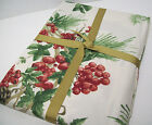"Williams Sonoma Holiday Cotton Botanical Berry Dinner Tablecloth 70"" X 108"" New"