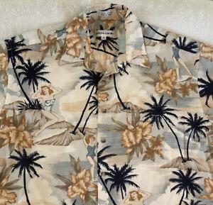 Vintage Pierre Cardin Hawaiian Aloha Tropical Print Button Front Shirt Size M