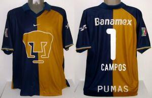 NIKE PUMAS UNAM MEXICO JORGE CAMPOS 2001 LIGA MX XL HOME ORIGINAL JERSEY SHIRT