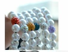 Handmade White Pearl RED Hot 10mm mkiw Micro Pave Disco Ball Bead Crystal Shamb