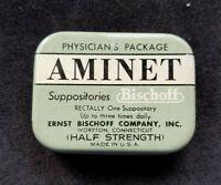 Old Advertising Medicine Tin AMINET Suppositories Ernst Bischoff Co Ivoryton CT