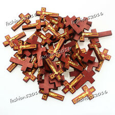 FREE 100pcs Lots Gold INRI Alloy JESUS Cross Wood Beads Pendants Fit Necklace