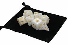 New 7 Piece Polyhedral Pearlescent Yeti White Dice Set With Dice Bag D&D RPG
