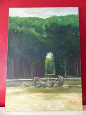 Peinture huile sur toile Décor Jardin Fontaine Art Décoratif 65x46cm signé
