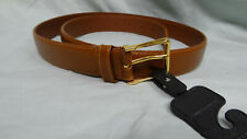 """Smooth Genuine Leather Dress Belt  1-1/8"""" Caramel Brown ~ Gold Tone Buckle NEW"""