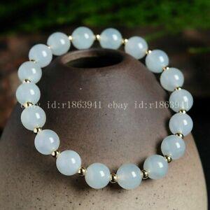 8MM Light Blue Jade Jadeite Round Gems Beads Stretch Bracelet 7.5'' AAA