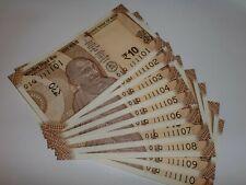 INDIA PAPER MONEY-10 x RS.10/- UNIQUE NOs.-111101-111110- 'MG' SMALL-2018- D-133