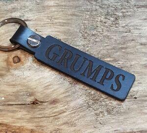 GRUMPS Leather Keyring Keychain Key Fob Black