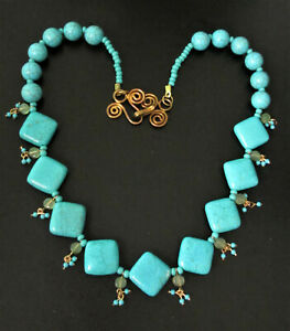 Turquoise~Adventurine~CHUNKY~Necklace~Exquisite~Hammered Clasp~DIVA~80 grams!