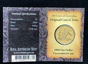AUSTRALIA 2008 $1 Coat of Arms Hand Struck 'M' Mint Mark