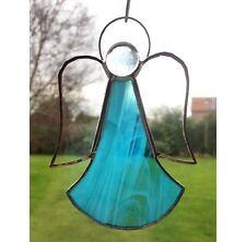 Hecho a mano vidrieras suncatcher Decoración Regalo De Vidrio Azul De Ángel