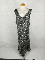 Ladies Dress Size 26 Plus ANN HARVEY Black Ivory Midi Party Evening Wedding