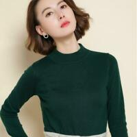Damenmode 14 Farben Sweater Pullover Pulli Frühling Herbst Halbkragen Dünn S-3XL