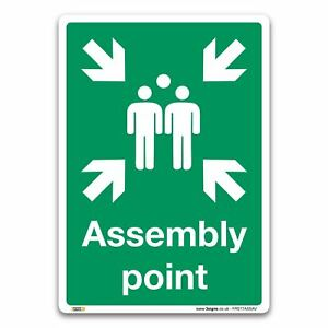 Assembly point Sign - Self-adhesive Vinyl Sign - Fire Action Safety