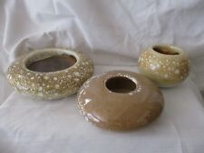 Villeroy & Boch lot of 3 tan yellow splatter pottery candle holders mid century