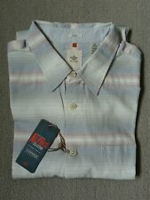 Dockers Camisa Manga Completo Blanco Azul Y Rojo Rayas Tamaño L RRP £ 70/Nuevo con etiquetas.