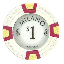 50 White $1 Milano 10g Clay Casino Poker Chips New - Buy 3, Get 1 Free