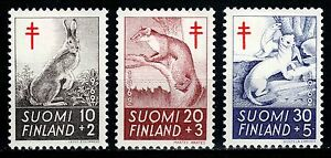Finland 1962, Mi.#551-553*, Sc.#B163-B165*, wild animals, MH