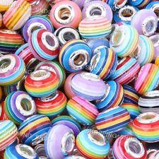 Lot 50pcs Mixed Stripes Murano Lampwork Resin Beads Fit European Charm Bracelets