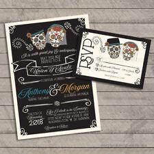 Set of 100 Dia De Los Muertos Wedding Invitations / Invite and RSVP