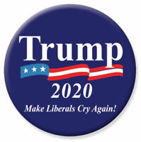 Trump 2020 Make Liberals Cry Again For President Navy Flag Button
