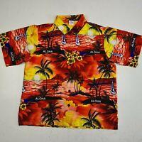 La Leela Men's Size L Hawaiian Short Sleeve Button Up Shirt Terivoile Aloha