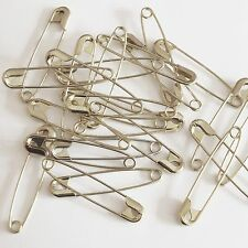 """Silver Safety Pins Size 3 ( 2"""" or 52mm )  Made in USA Pack / 100"""