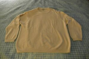 Vintage Mens XXL 2XL L.L. Bean Cotton Crewneck Sweater, Eggshell White!