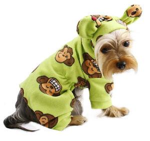 Klippo Dog Clothes Silly Monkey Fleece Dog Pajamas Hooded LIME XS-XL Puppy