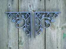 Antique Style Pair of Cast Iron Hydrangea, Vintage  Shelf  Brackets