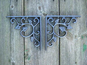 Antique Style Pair of Cast Iron Hydrangea, Vintage  Shelf  Brackets