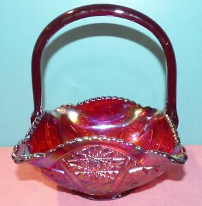 Beautiful Large LE Smith Red Carnival Glass Basket Hobstar Pattern