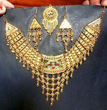 Gold Plated Peacock Meenakari Indian Wedding Step Necklace Earrings Tikka Set..