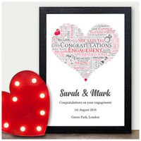 Personalised Word Art Engagement Heart Print Couples Gift Present Fiance Gifts