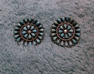 Vintage Round Sterling & Turquoise Colored Pierced Earrings