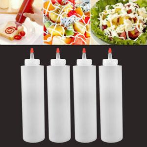 4pcs 120ml Plastic Sharp Mouth Bottle 4oz Squeeze Sauce Bottle Salad Bottle