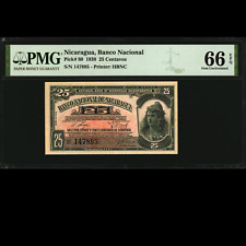 National Bank of Nicaragua 25 Centavos 1938 PMG 66 GEM UNCIRCULATED EPQ P-80