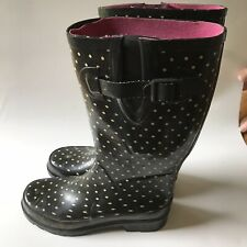 Black & White Polka Dot Rubber Rain MUCK, Boots Size 6 Women's
